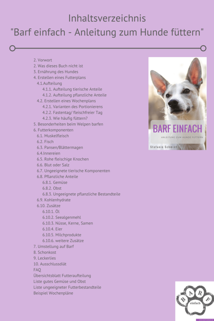 Inhaltsverzeichnis Buch, Buchvover mit Hund