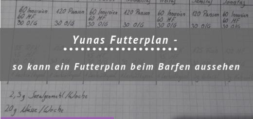 Überschrift: Yunas Futterplan - So kann ein Futterplan beim Barfen aussehen, Wochenplan